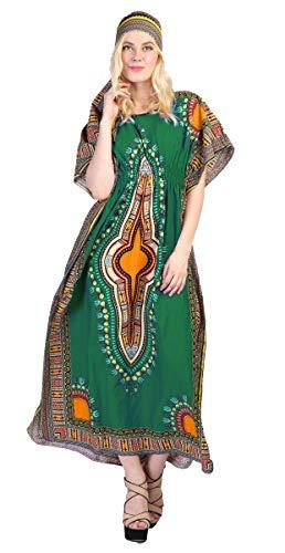 NF Dashiki Print Kaftan Dress Green-One Size ()