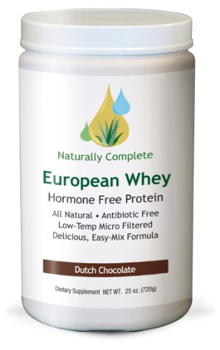 Naturally Complete European Whey All Natural Hormone Free Protein Dutch Chocolate 25 oz. Servings Per Container: 72 - Antibiotic Free - Meadow Fed - Low-Temp Micro Filtered Easy-Mix. This product is free of wheat, gluten, egg, fish, shellfish, peanut, tre