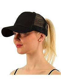 LIWEIKE Ponycap Messy High Bun Ponytail Adjustable Mesh Trucker Baseball Cap Hat
