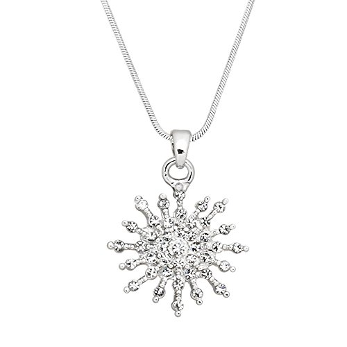 Tiffany Starburst (Falari Starburst Pendant Necklace Rhinestone Crystal High Polished Rhodium J0395)