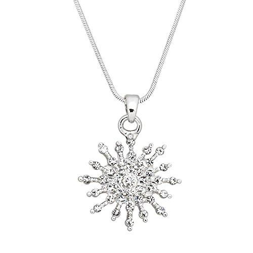 Starburst Tiffany (Falari Starburst Pendant Necklace Rhinestone Crystal High Polished Rhodium J0395)
