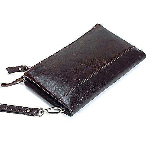 Monedero de los hombres bolso de cremallera multifuncional de cuero largo paquete de tarjeta manual de gran capacidad Bags Brown