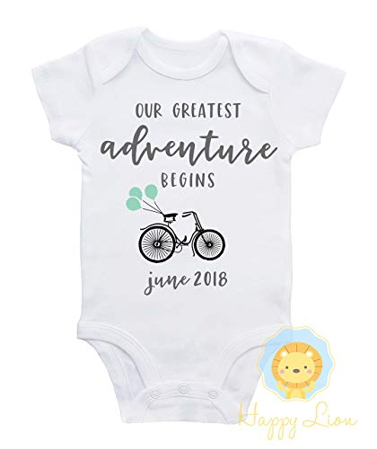 - Happy Lion Clothing - Pregnancy Announcement shirt, Greatest Adventure Begins, Bicycle Pregnancy announcement, Bicycle baby shower, Custom due date announcement, adventure