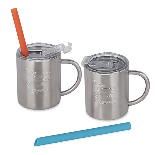 Housavvy Rabbit Stainless Steel Kids Handle Cups with Lids and Straws, 2 PACK by Housavvy (Image #5)