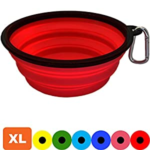 Zenify Dog Bowl – Extra Large 1000ml Collapsible Foldable Food and Water Feeder Dish – Portable Travel Leash Lead Slim… Click on image for further info.