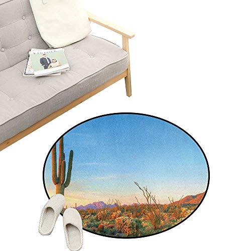 Saguaro Round Rug ,Sun Goes Down in Desert Prickly Pear Cactus Southwest Texas National Park, Flannel Microfiber Non-Slip Soft Absorbent 31