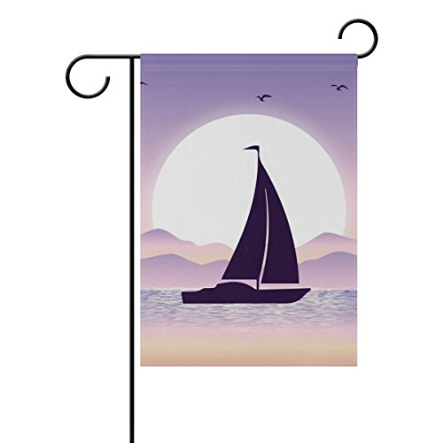 """LEISISI Sailboat Sunset Garden flag 12""""X18"""" Two Sided Yard D"""