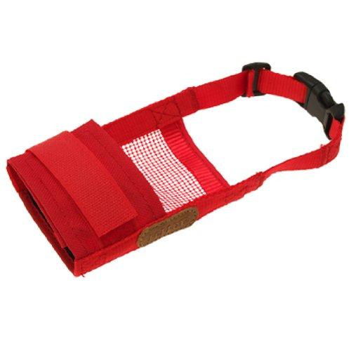 Jardin Pet Dog Anti Bark Chew Muzzle Mask, Soft Mesh, Large, Red