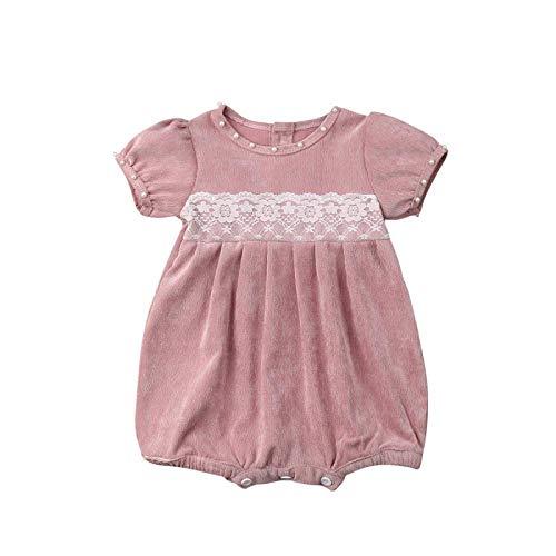 (Newborn Baby Girl Corduroy Romper Summer Toddler Girls Comfy Lace Sleeve Button Down Jumpsuit Bodysuit (0-24m) (Pink, 0-6m))
