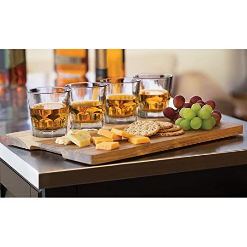 Libbey Fluted Whiskey Glass - Libbey 57041 Craft Spirits Whiskey Flight Set with Wood Carrier, 4 Glasses, 5.5 oz, Clear Brown