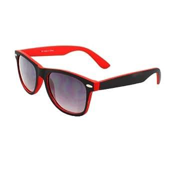 Wayfarer Fashion Sunglasses 351BKRDPB Black with Rubber Coatin Red Frame Purple Black Lenses for Women and Men