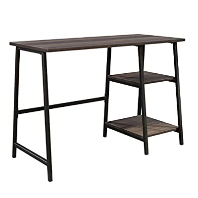 Sauder North Avenue Pedestal Desk, Smoked Oak finish - Spacious work area for laptop and printer Two lower shelves for storage of books, paper, etc Finished on all sides for versatile placement anywhere in your home - writing-desks, living-room-furniture, living-room - 41kqEpMfPCL. SS400  -