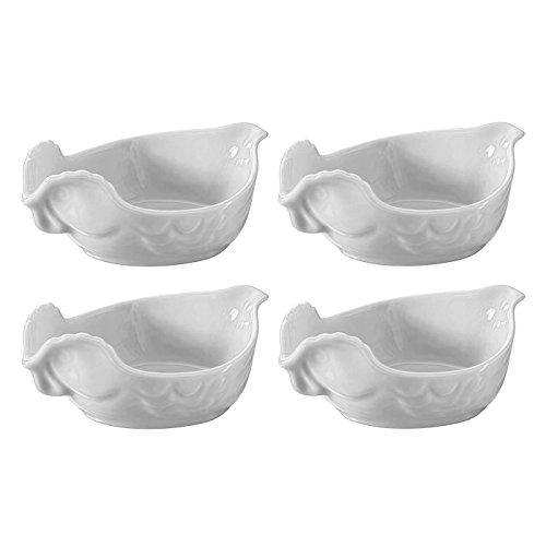 Revol Happy Cuisine White Porcelain 7 Ounce Poultry Dish, Set of 4