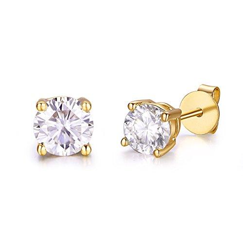 5mm Moissanite 1.0 cttw 14k Gold Screw Back Round 4 Prong Stud Earrings (0.82 cttw Moissanite, G-H Color, VS1-VS2) (yellow-gold)