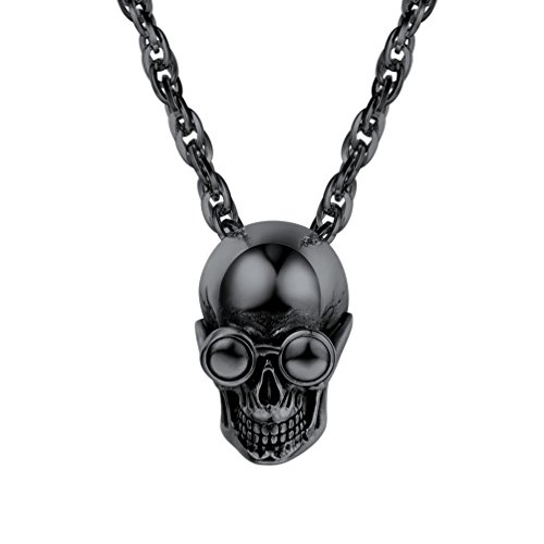 PROSTEEL Skull Charm Black Necklace Pendant Chain Vintage Goth Gothic Punk Women Men Jewelry Gift Skeleton Charm Statement Necklace (Charms Skull Gothic)