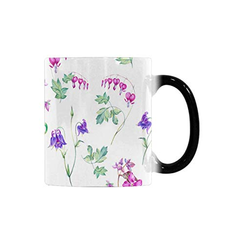 InterestPrint Watercolor Cute Garden and Wild Flowers Heat Sensitive Coffee Mug, Color Changing Morphing Tea Cup Funny, 11 Ounce Novelty Mug for Best Friends Boys Girls Classmates