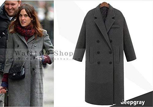 Vintage Anteriori Bavero Invernali Confortevole Breasted Manica Donna Outwear Lunga Vento Giubotto Double Grau Giacca Tasche Parka Monocromo T4wq08