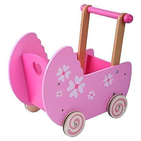 Amazon.es: Cochecito de Muñecas Carrito Andador Madera rosa: Juguetes y juegos