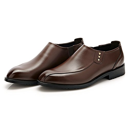 Easy Leather Formal Smooth Gentlemen Go Shopping Loafer Men's Shoes Leather for Oxfords Business PU Shoes Uppers Leather Shoes Classic Brown rCXrwxRSq
