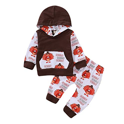 ZOELNIC Baby Girls Boys Thanksgiving Outfit Hooded Pocket Tops + Turkey Pants Clothes Set (Brown, 18-24m(100))