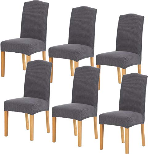 - TIANSHU Stretch Chair Cover for Home Decor Dining Chair Slipcover (6 Pack, Grey)