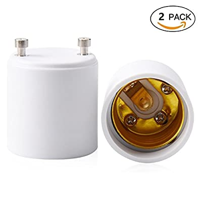 Masonanic 2-Pack GU24 to E26 E27 Adapter Maximum Wattage 1000W Heat Resistant Up to 200? Fire Resistant Converts GU24 Pin Base Fixture to E26 E27 Standard Screw-in Socket