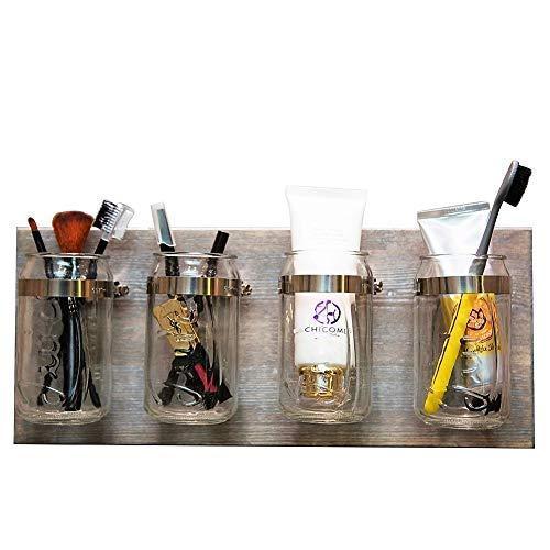 HABOM Mason Jar Organizer, Rustic Farmhouse, Bathroom, Kitchen Storage Home Wall Decor, Toothbrush Utensil Holder, Shabby Chic, Grey