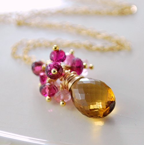 Pink and Gold Gemstone - Necklace Tourmaline Pink Cluster