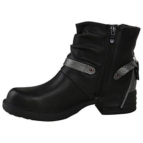 Stiefelparadies Damen Biker Boots Leder-Optik Stiefeletten Warm Gefütterte Booties Blockabsatz Winter Schuhe Winterboots Zipper Snake Print Flandell Schwarz Arriate