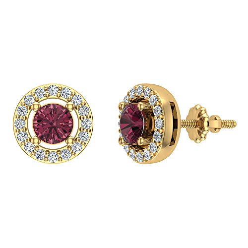 Garnet earrings 14K Yellow Gold Diamond Studs earrings for women Halo - Style
