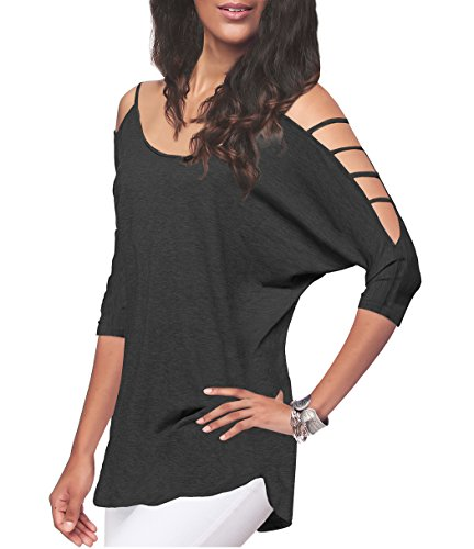 Women's Off Shoulder Shirt Half Sleeve Tunic Top Casual Blouse (L, Dark ()