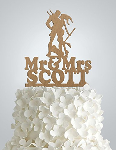 Wood Wedding cake Topper - ,Harley Quinn & Deadpool
