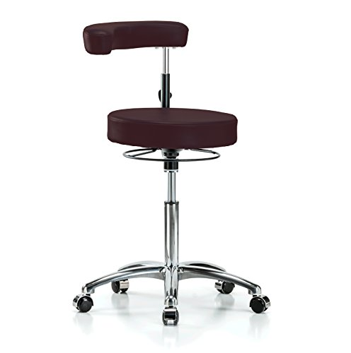 Perch Chrome Rolling Dental Stool Adjustable Height With