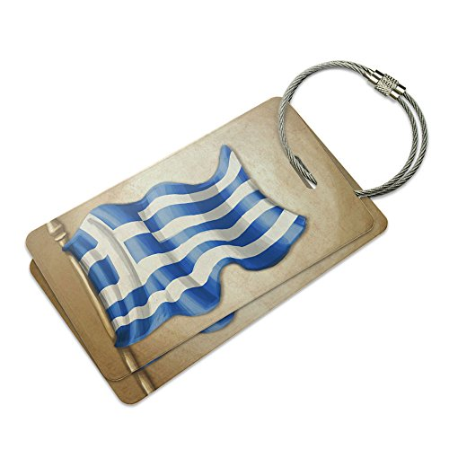 Vintage Greek Flag Greece Suitcase Bag ID Luggage Tag Set ()
