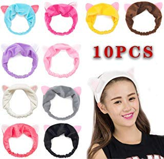 GuoZhiXin 10pcs Elastic Cat Ear Headbands, Headband for Women Wash Face Makeup Running Sport Spa Party, Lake Blue, Rose, Watermelon, Coffee, Grey, Pink, Yellow, Purple, Black, White, Large -