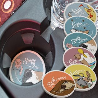 - Live in Dog Years Stone Car Drink Coaster by Pocchie-Pets LLC (Listen)