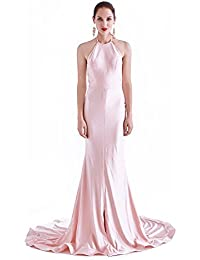 France CG Women's Halter Neck Evening Prom Dress Vintage Wedding Maxi Gown J-0260