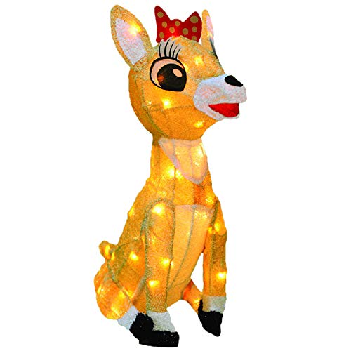 Product Works 18-Inch Rudolph 3D LED Pre-Lit Clarice The Reindeer Christmas Yard Art, 50 Lights (Led Reindeer)
