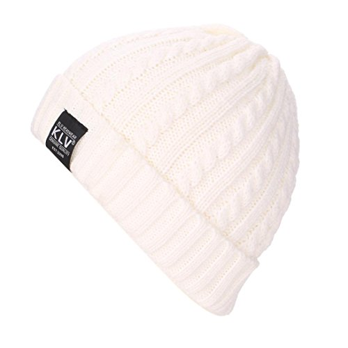 Perman Baggy Warm Crochet Winter Wool Knit Ski Beanie Skull Slouchy Caps Hat (White)