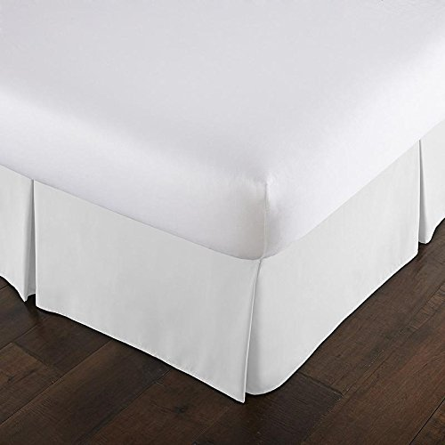 Luxurious Hotel Collection 600 Thread Count 100% Egyptian Cotton Bed Skirt 15 inch drop Queen White Solid By Classic & Comfort Bedding (Tailored Drop Pleated Bed Skirt)