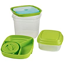 Fit & Fresh Salad and Side Reusable Lunch Containers, Green