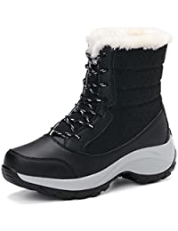 Orlancy Women's Boots Waterproof Leather Fur Lined High Top Lace Up Warm Outdoor Winter Snow Boots