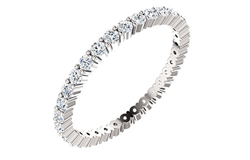 Jewels By Lux 14k White Gold Size 08.001/2 Ct Tw Polished Diamond Eternity Wedding Ring Band Size 8 (2ct Tw Eternity Band Diamond)