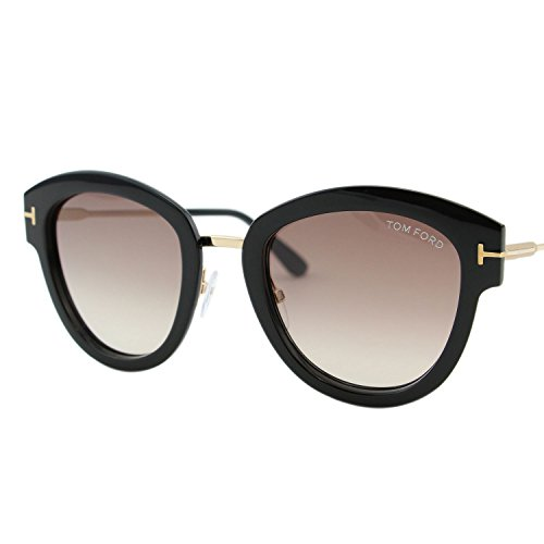 7b89f6c1cc Tom Ford FT0574 01T Shiny Black Mia Round Sunglasses Lens Category 2 Size  52mm