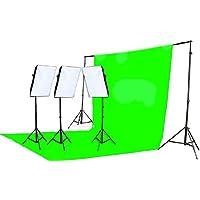Fancierstudio 2400 Watt Chromakey Green Screen Video Lighting Kit With Softbox Light Kit By Fancierstudio 9004S3 +TB Gren Kit