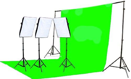 Fancierstudio 2400 Watt Chromakey Green Screen Video Lighting Kit With Softbox Light Kit By Fancierstudio 9004S3 +TB Gren Kit by Fancierstudio