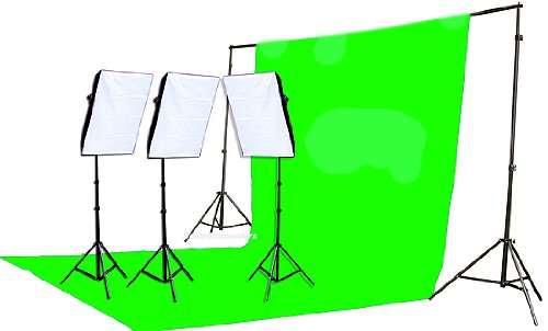 Fancierstudio 2400 Watt Chromakey Green Screen Video Lighting Kit With Softbox Light Kit By Fancierstudio 9004S3 +TB Gren Kit by Fancierstudio
