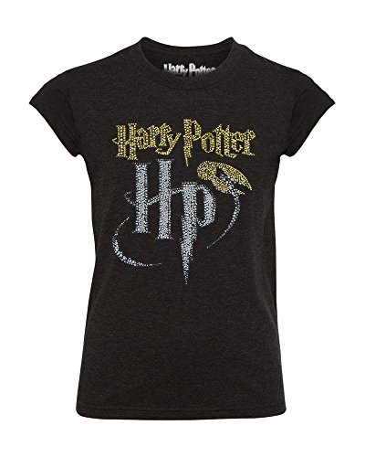 Glam Girl T-shirts - Harry Potter Golden Snitch Magic HP Glitter Glam Girls Youth Fitted Tee (Medium 7/8)