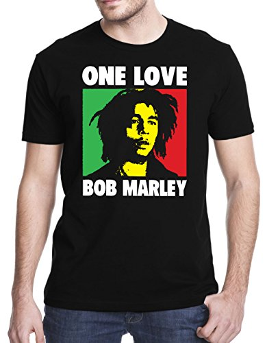 Bob Marley One Love T-Shirt, Medium, Black