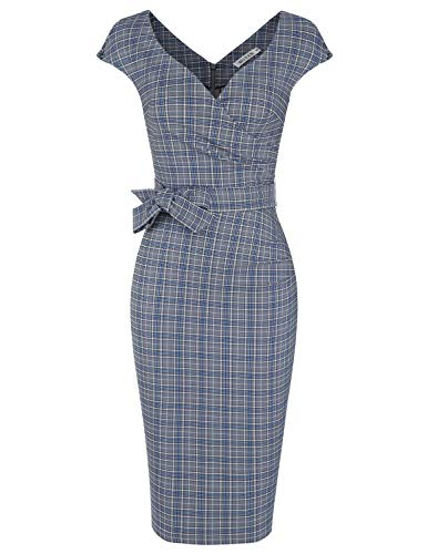 MUXXN Ladies Cute Pattern Bowknot Belt Waist Knee Length Work Office Dress (Blue Plaid L)